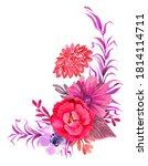 watercolor floral arrangement... | Shutterstock . vector #1814114711