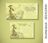floral vector vintage card with ... | Shutterstock .eps vector #181412444