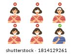 showing how to wear mask... | Shutterstock .eps vector #1814129261