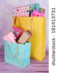 presents in paper bags on table ... | Shutterstock . vector #181413731
