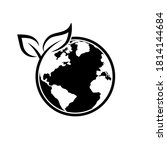 earth with leaf icon  world... | Shutterstock .eps vector #1814144684