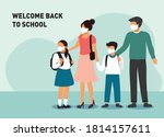 schoolboy and schoolgirl go to... | Shutterstock .eps vector #1814157611