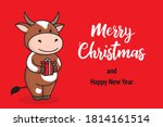 cute christmas card with cow or ... | Shutterstock .eps vector #1814161514