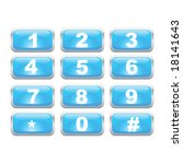 Vector illustration of a glossy blue number keypad. For jpeg version, please see my portfolio. - stock vector
