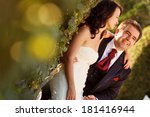 bride and groom holding each...   Shutterstock . vector #181416944
