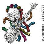 skull hardcore guitar | Shutterstock .eps vector #181417739