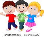 happy children walking together | Shutterstock .eps vector #181418627