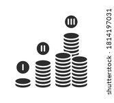 financial plan black glyph icon....