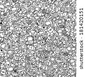 icons seamless pattern in black ... | Shutterstock .eps vector #181420151