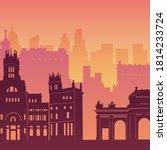 madrid  spain. cityscape flat... | Shutterstock .eps vector #1814233724