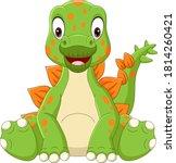 cartoon baby stegosaurus... | Shutterstock .eps vector #1814260421