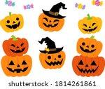 illustration set of halloween...   Shutterstock .eps vector #1814261861