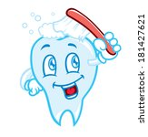 tooth brushing cartoon | Shutterstock . vector #181427621