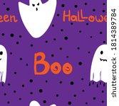 halloween flat seamless pattern....   Shutterstock .eps vector #1814389784