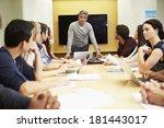 male boss addressing meeting...   Shutterstock . vector #181443017