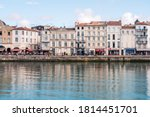 """Small photo of La Rochelle, France. August 7, 2019. View of the """"Vieux Port"""" in La Rochelle. Famous landmark in summer."""