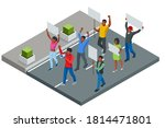 Protest Isometric People With...