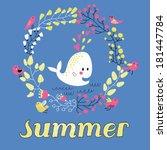 cartoon summer concept card in... | Shutterstock .eps vector #181447784