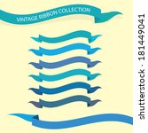 set of retro blue ribbons and... | Shutterstock .eps vector #181449041