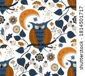 nordic scandinavian owl bird... | Shutterstock .eps vector #1814501717