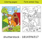 coloring pages with cute dog... | Shutterstock .eps vector #1814596517