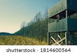 hunter on a hunting tower... | Shutterstock . vector #1814600564