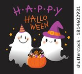 happy halloween. cute spooky... | Shutterstock .eps vector #1814602931