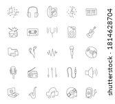 music hand drawn linear doodles ...