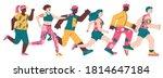 cartoon characters of running...   Shutterstock .eps vector #1814647184
