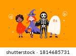 kids in halloween costumes... | Shutterstock .eps vector #1814685731