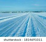 snowy winter forest road... | Shutterstock . vector #1814691011