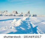 snowy winter forest road... | Shutterstock . vector #1814691017