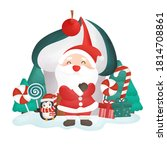 happy christmas card with santa ... | Shutterstock .eps vector #1814708861