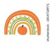 fall rainbow with pumpkin cute... | Shutterstock .eps vector #1814718971