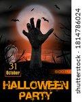 halloween party poster. zombie...   Shutterstock .eps vector #1814786024