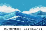 harsh ocean with large sea... | Shutterstock .eps vector #1814811491