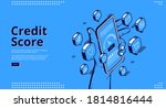 credit score isometric landing... | Shutterstock .eps vector #1814816444