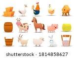 Farm Animals And Farm On A...
