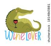 funny green crocodile drinking... | Shutterstock .eps vector #1814865881