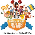 group of cartoon sport fans and ... | Shutterstock .eps vector #181487564