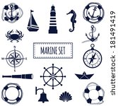 anchor,blue,boat,collection,compass,crab,design,element,flat,graphic,holiday,icon,illustration,isolated,lighthouse