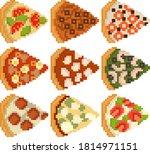 a set of nine pixel images of... | Shutterstock .eps vector #1814971151