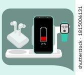 wireless charger flat vector.... | Shutterstock .eps vector #1815006131