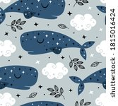 seamless pattern with blue... | Shutterstock .eps vector #1815016424