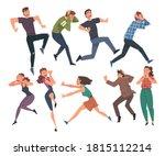 people afraid of something set  ... | Shutterstock .eps vector #1815112214