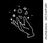 hand with stars and sun  with...   Shutterstock .eps vector #1815169184