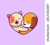 Cute Dog And Cat Logo Cartoon...