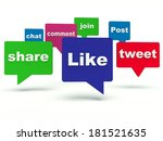 social media bubble speech. 3d... | Shutterstock . vector #181521635