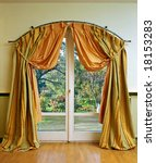 Luxury curtain with garden view in the middle - stock photo