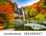 Waterfall View In Autumn. The...